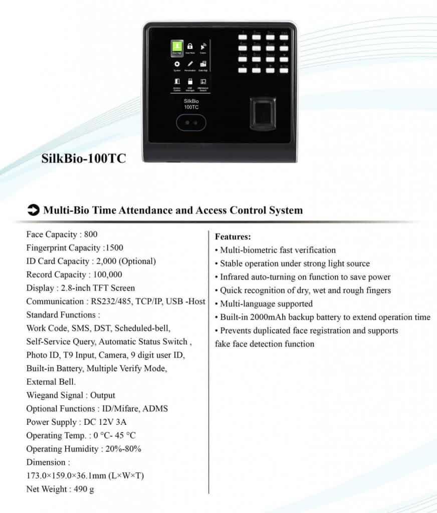 Biometric attendance machine eSSL SilkBio 100TC features