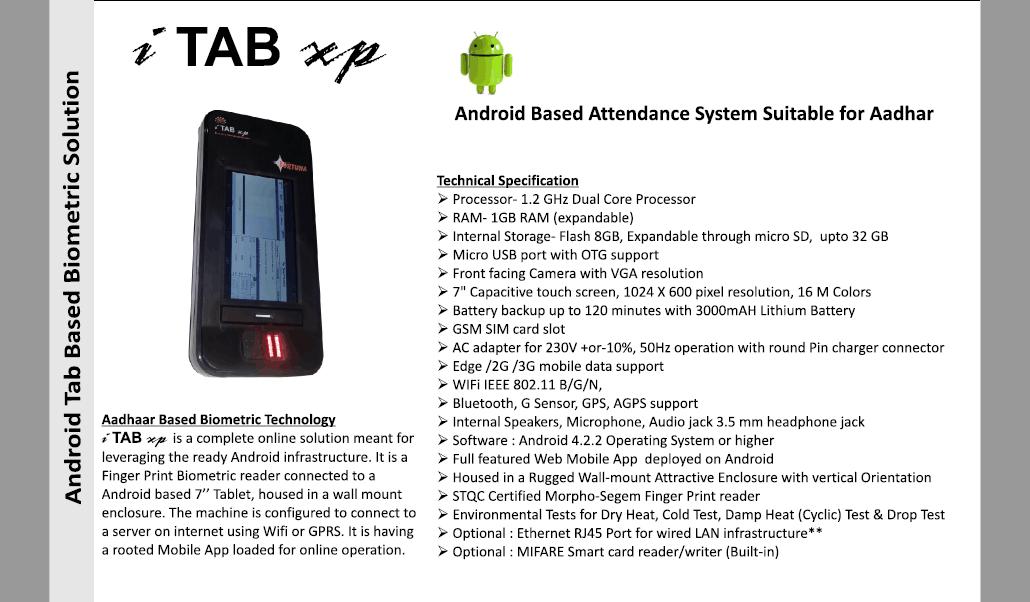 Aadhaar based Biometric Attendance System Suppliers i TAB xp