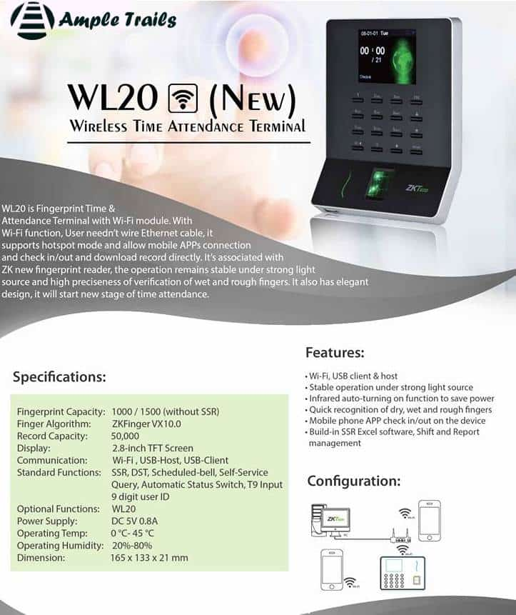 WL20 Wifi Fingerprint Time Attendance Machine