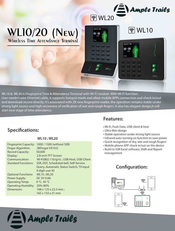 WL20 WL10 Wireless Time Attendance Machine