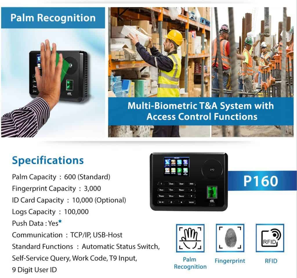 Palm Recognition Multi Biometric Time Attendance System with Access Control eSSL P160