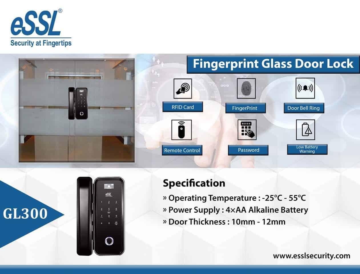 Features eSSL Fingerprint Door Lock System GL300