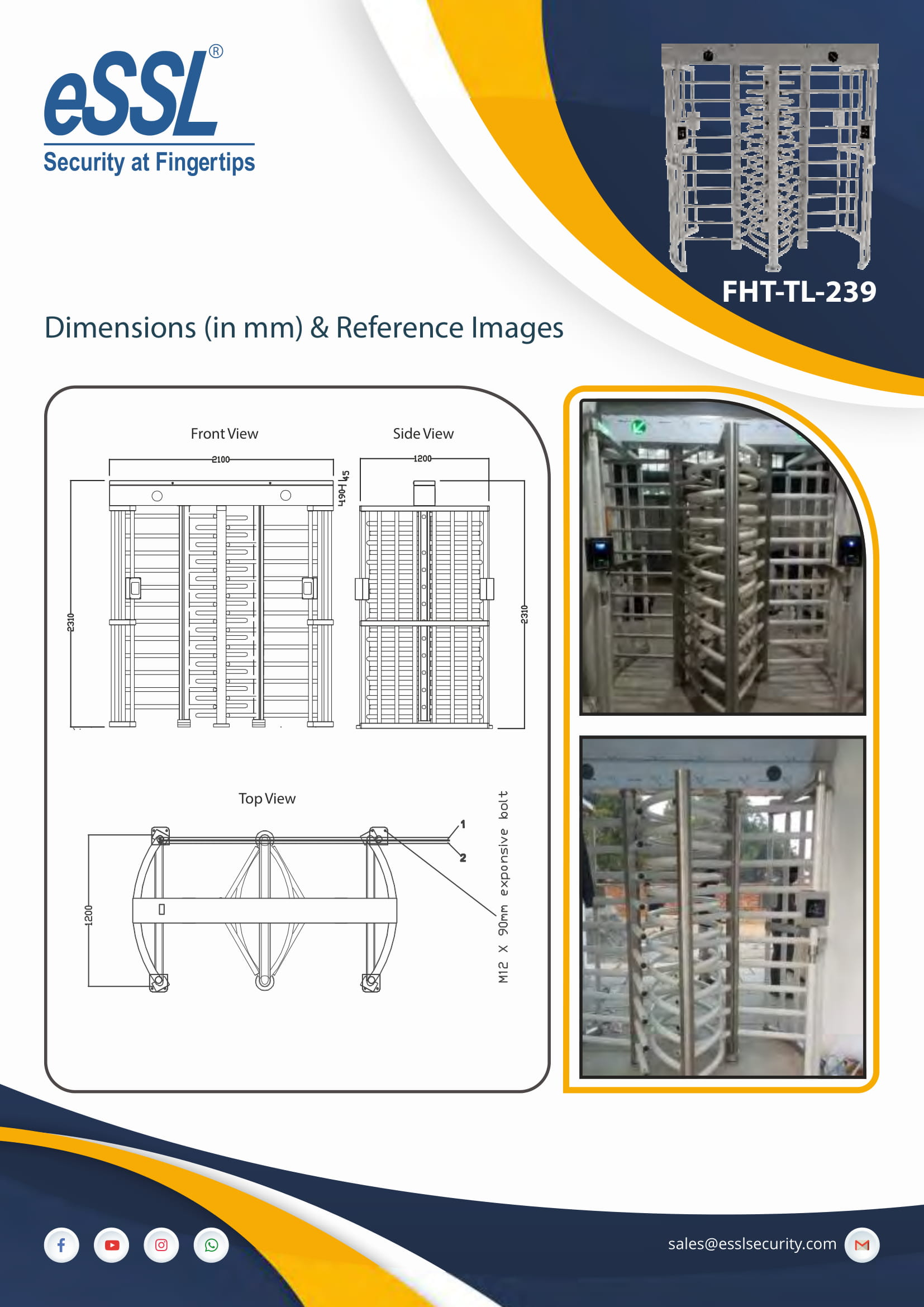 Installation of Full height turnstile Double door