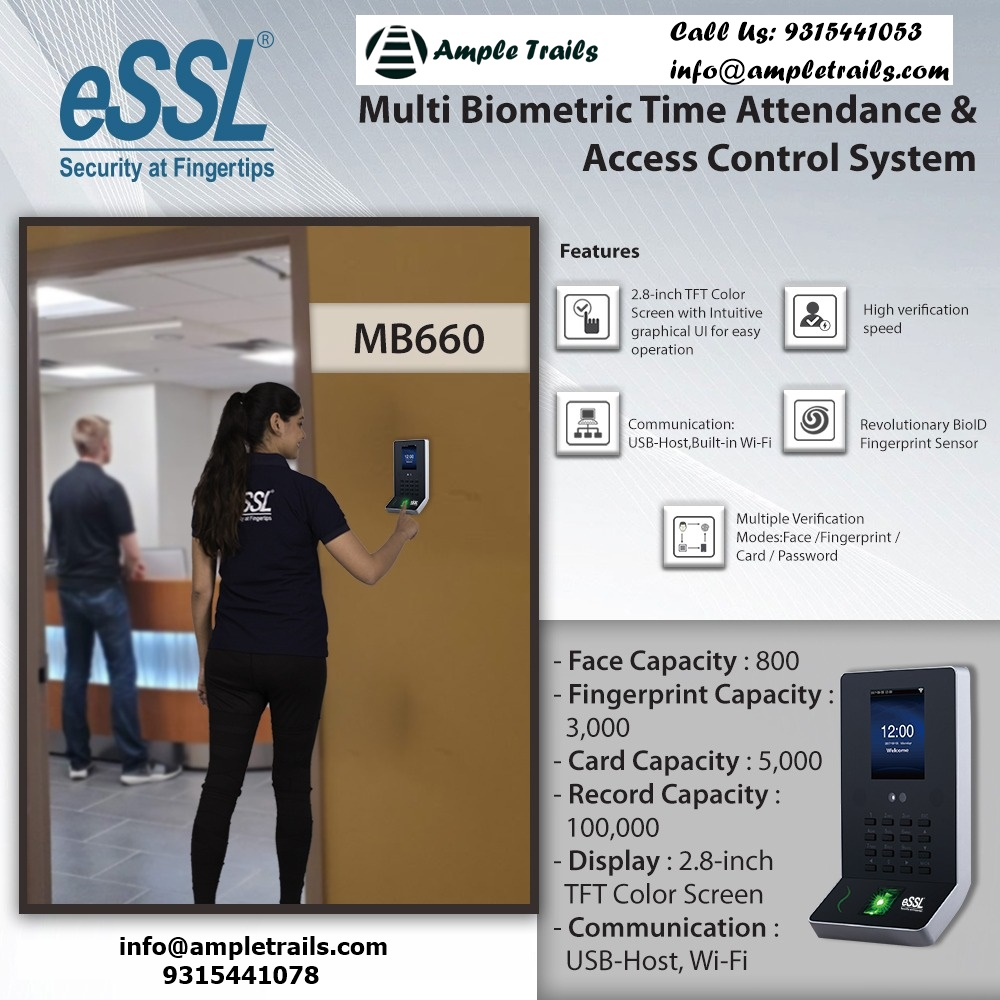 ESSL MB660 Face And Finger Based Access Control With Wifi for Attendance