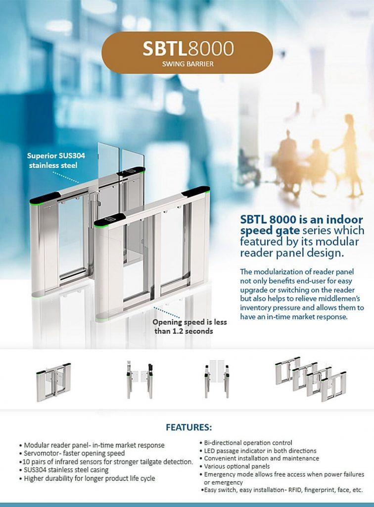 SBTL 8000, an Indoor Speed Gate Series Swing Barrier