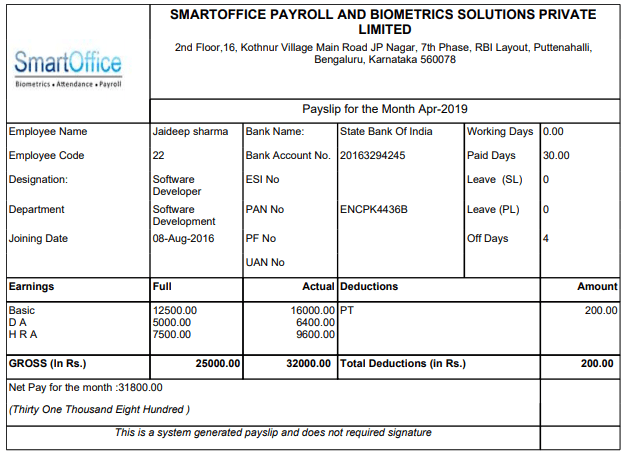 Payroll-Software Payslip