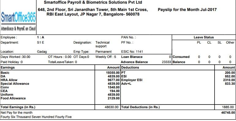 Payroll Software Payslip